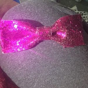 Pink sequins clip in hair bow